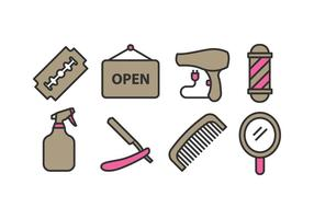 Set di icone del negozio di barbiere vettore