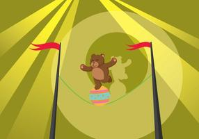 Orso libero che cammina sull'illustrazione di Tightrope vettore