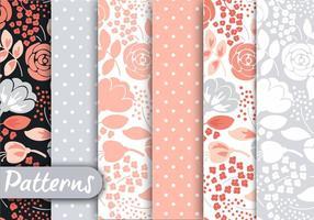 Set di motivi floreali pastello vettore