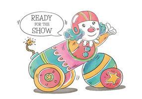 Pagliaccio divertente di circo che sorride dentro un cannone