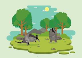 Armadillo selvaggio dentro l'illustrazione della foresta