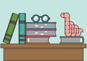 Bookworm Sulla Pila Di Libri vettore