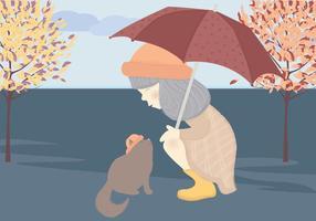 vettore ragazza carina e illustrazione di gatto