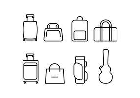 Set di icone di bagagli vettore