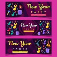 banner festa di capodanno musica dal vivo vettore
