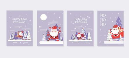 set di biglietti di auguri di Babbo Natale vettore