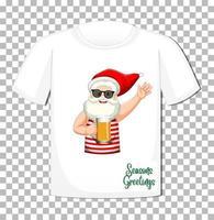 personaggio dei cartoni animati di Babbo Natale in tema estivo di Natale su t-shirt su sfondo trasparente