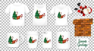 Babbo Natale che balla personaggio dei cartoni animati con set di diversi vestiti e accessori prodotti su sfondo trasparente