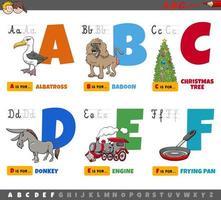 lettere dell'alfabeto per bambini dalla a alla f vettore