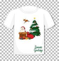 Babbo Natale con tanti doni in tema natalizio su t-shirt su sfondo trasparente