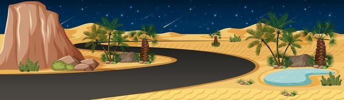 oasi nel deserto con una lunga strada paesaggio di scena notturna