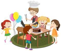 padre che cucina per i suoi bambini festa all'aperto su sfondo bianco vettore