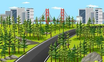 lunga strada in città con scena di paesaggio naturale vettore