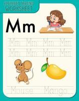 foglio di lavoro di tracciamento alfabeto con lettera e vocabolario vettore