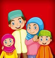 membro della famiglia musulmana su sfondo sfumato di colore personaggio dei cartoni animati vettore