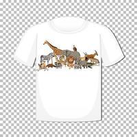 disegno di gruppo di animali selvatici su t-shirt isolato su sfondo trasparente vettore