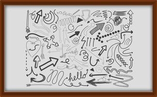diversi tratti di doodle in cornice di legno vettore