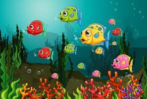 molti personaggi dei cartoni animati di pesci esotici nella scena subacquea con i coralli