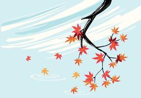 Pianta di acero giapponese liscia con sfondo di cielo e foglie di acero caduta vettore