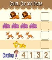 contare, tagliare e incollare foglio di lavoro di matematica per bambini