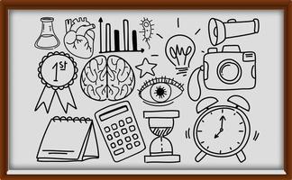 diversi tratti di doodle sulle attrezzature scolastiche su telaio in legno