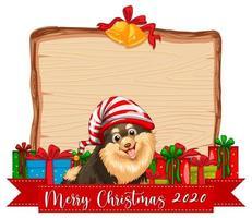 tavola di legno vuota con logo del carattere di buon natale 2020 e simpatico cane vettore