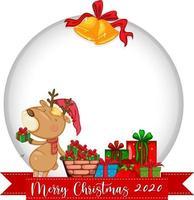 banner cerchio vuoto con logo del carattere di buon natale 2020 e simpatiche renne vettore
