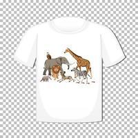 disegno di gruppo di animali selvatici su t-shirt isolato su sfondo trasparente