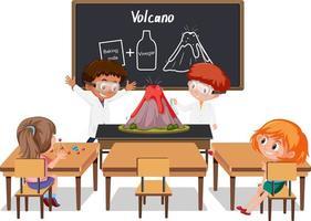 giovani studenti che fanno esperimenti sul vulcano nella scena della classe
