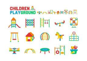 Set di icone di parco giochi per bambini vettore