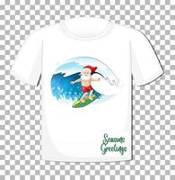 personaggio dei cartoni animati di Babbo Natale in tema estivo di Natale su t-shirt su sfondo trasparente vettore