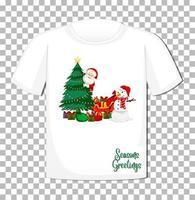 personaggio dei cartoni animati di Babbo Natale con elemento tema natalizio su t-shirt su sfondo trasparente vettore