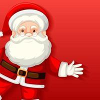 simpatico personaggio dei cartoni animati di Babbo Natale su sfondo rosso vettore