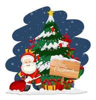 Babbo Natale con albero di Natale e pupazzo di neve di notte vettore