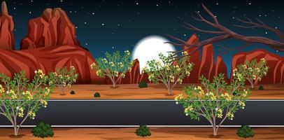 deserto selvaggio con una lunga strada paesaggio di scena notturna vettore