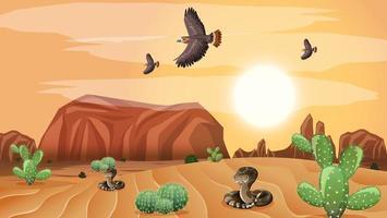 paesaggio desertico selvaggio alla scena diurna vettore