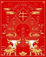 capodanno cinese, poster 2021 vettore