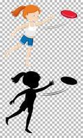 personaggio dei cartoni animati estivo su sfondo trasparente e la sua silhouette vettore