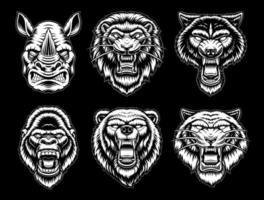 una serie di animali in bianco e nero