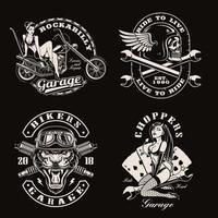 una serie di motociclisti vintage vettore