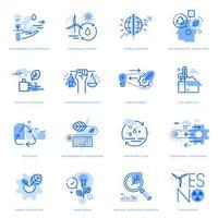 set di icone di linea piatta di ecologia e tecnologia verde vettore