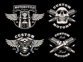 una serie di emblemi di moto in bianco e nero vettore