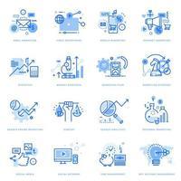 set di icone di linea piatta di marketing digitale e business vettore