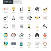set di icone di design piatto per affari e marketing vettore