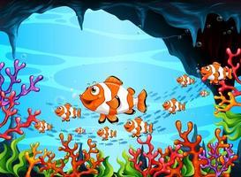 molti personaggi dei cartoni animati di pesci esotici nella scena subacquea con i coralli vettore