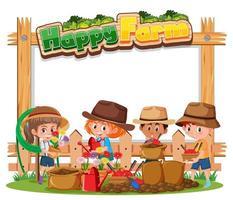 banner bianco con logo fattoria felice e bambini contadini isolati su sfondo bianco vettore
