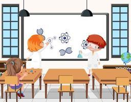giovani studenti che fanno esperimenti scientifici nella scena della classe