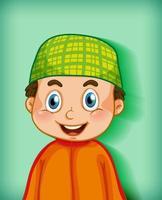 personaggio dei cartoni animati musulmano maschio su sfondo sfumato di colore