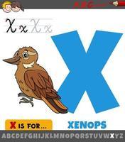 lettera x dall'alfabeto con uccello xenops cartone animato vettore