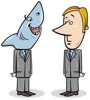squalo di affari e fumetto di concetto di giovane uomo d'affari vettore